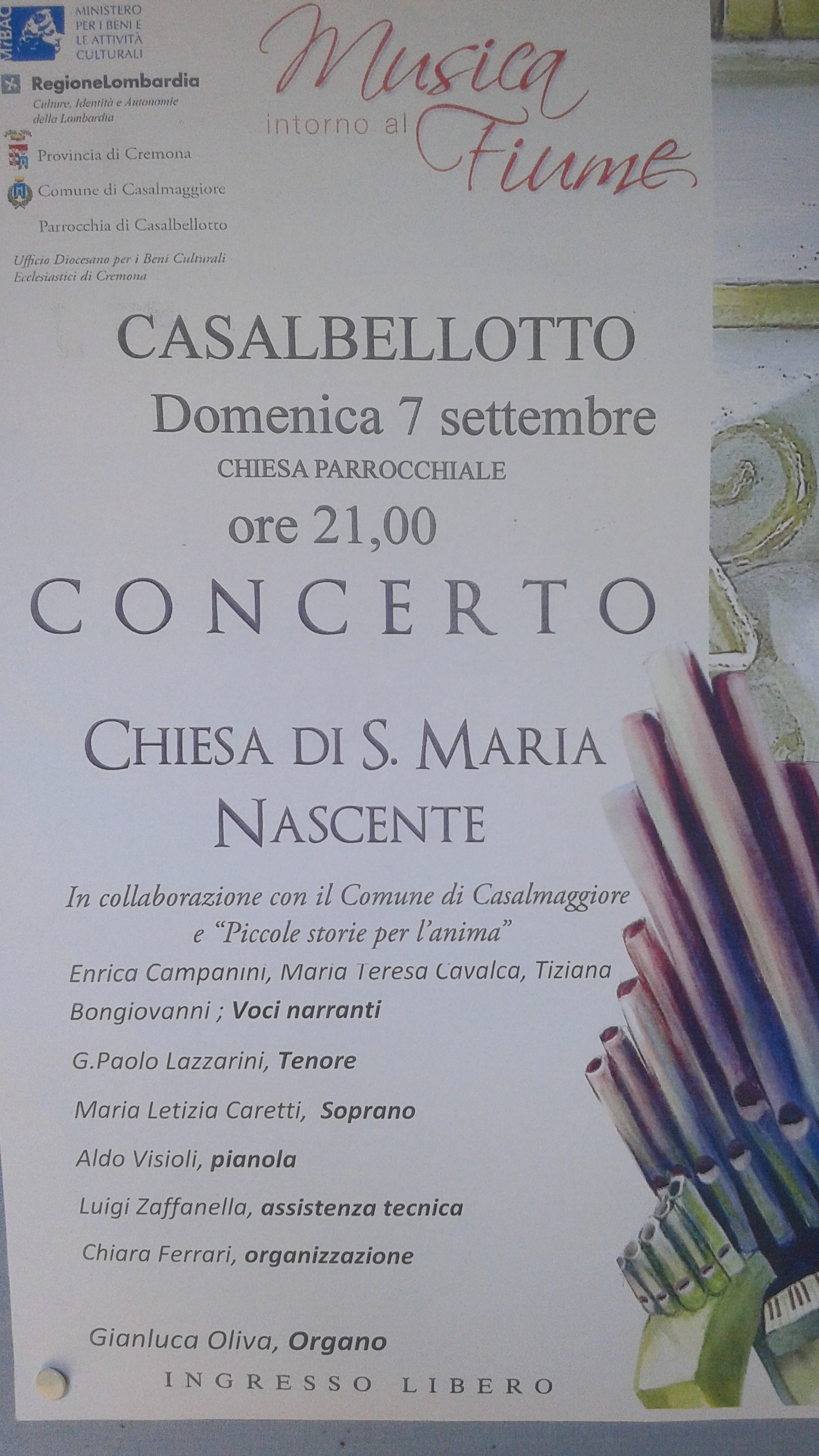 MUSICA INTORNO AL FIUME: CONCERTO D'ORGANO A CASALBELLOTTO