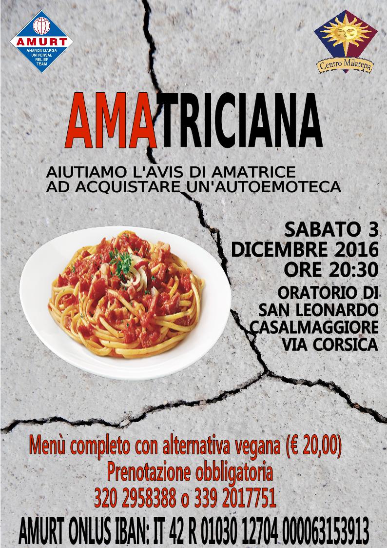 Amatriciana – Cena solidale a favore di Amatrice – AMURT Italia