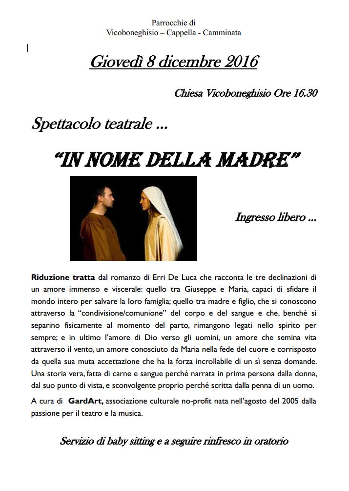 Spettacolo teatrale: In nome della madre – Vicoboneghisio